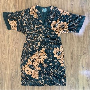 Maeve Anthropologie shift dress black floral 12P